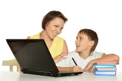 Mother and son studying Royalty Free Stock Photos