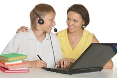 Mother and son studying together Royalty Free Stock Photos