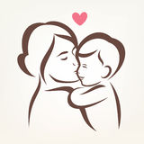 Mother and son stylized vector silhouette Stock Photos
