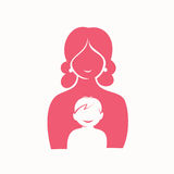 Mother and son stylized vector symbol stock illustration