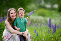 Mother and son summer portrait Stock Images