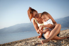 Mother and son summer portrait Stock Photos