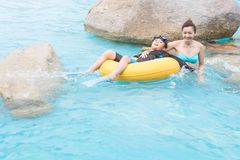 Mother and son in the swimming pool. royalty free stock photos