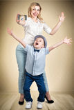 Mother with son take a selfie photo.Stylish,trendy,modern. Stylish,trendy,modern.Mother with son take a selfie photo stock images