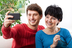 Mother and son taking selfie Royalty Free Stock Photography