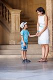 Mother and son talking at Alhambra palace Royalty Free Stock Images