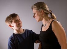 Mother and son teasing each other Stock Image