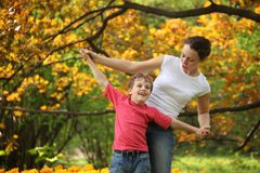Mother with son to keep for hands Stock Photography
