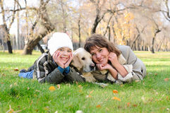 Mother and son together having fun Stock Images