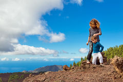 Mother and son at top of mountain Royalty Free Stock Image