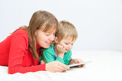 Mother and son with touch pad at home Royalty Free Stock Photography