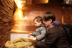 Mother and son touching hop Stock Images