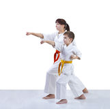 Mother and son are training punch arm. Mother and son are training punch Royalty Free Stock Photos
