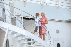 Mother with son travel on cruise ship Royalty Free Stock Image