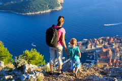 Mother and son travel in Europe Stock Images
