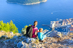 Mother and son travel in Europe. Croatia stock photo