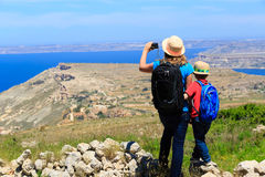 Mother and son travel hiking in mountains Royalty Free Stock Images