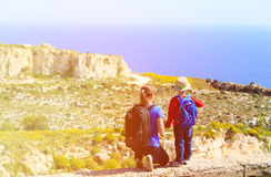Mother and son travel in mountains Stock Image