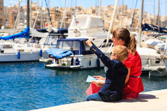 Mother and son travel in the port of Malta Royalty Free Stock Photo