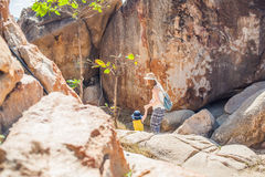 Mother and son travelers at the Hon Chong cape, Garden stone, popular tourist destinations at Nha Trang. Vietnam. Asia Travel concept. Journey through Vietnam Royalty Free Stock Photos