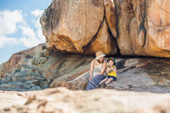 Mother and son travelers at the Hon Chong cape, Garden stone, popular tourist destinations at Nha Trang. Vietnam. Asia Travel concept. Journey through Vietnam Royalty Free Stock Photography
