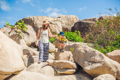 Mother and son travelers at the Hon Chong cape, Garden stone, popular tourist destinations at Nha Trang. Vietnam. Asia Travel concept. Journey through Vietnam Stock Photo