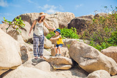 Mother and son travelers at the Hon Chong cape, Garden stone, popular tourist destinations at Nha Trang. Vietnam. Asia Travel concept. Journey through Vietnam Royalty Free Stock Images