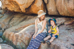 Mother and son travelers at the Hon Chong cape, Garden stone, popular tourist destinations at Nha Trang. Vietnam. Asia Travel concept. Journey through Vietnam Royalty Free Stock Photo