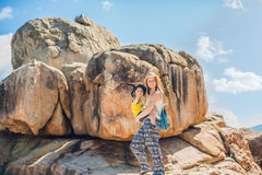 Mother and son travelers at the Hon Chong cape, Garden stone, popular tourist destinations at Nha Trang. Vietnam. Asia Travel concept. Journey through Vietnam Stock Images