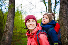 The mother and son are traveling. Stock Images