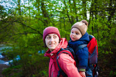 The mother and son are traveling. Stock Photo