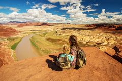 Mother and son travels to America on the Colorado river observation deck stock image