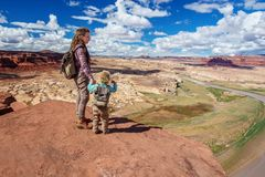Mother and son travels to America on the Colorado river observation deck royalty free stock photos