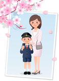 Mother and son under cherryblossom tree Royalty Free Stock Photography