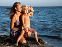 Mother and son in vacation Stock Photos