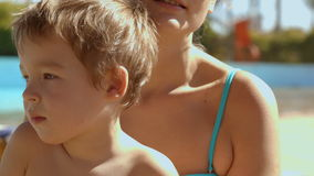 Mother and son on vacation stock footage