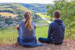Mother and son viewing german landscape stock photography