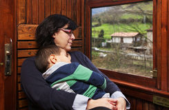 Mother and son at vintage train Stock Image