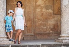 Mother and son visiting Alhambra palace Royalty Free Stock Photo
