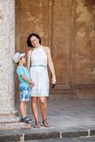 Mother and son visiting Alhambra palace Royalty Free Stock Photography