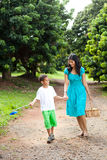 Mother and son walking Royalty Free Stock Images