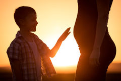 Mother and son walking on the field at the sunset time. People having fun outdoors. Concept of friendly family Stock Images