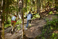 Mother and son walking on a hike trail Royalty Free Stock Photography