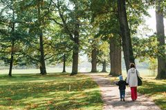 Mother and son walking in the park Royalty Free Stock Photography