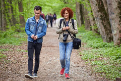 Mother and son walking through the park Royalty Free Stock Photo