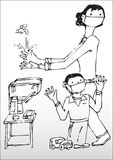 Mother and Son Washing Hands. Hand drawn illustration of a mother and son wearing masks while washing their hands.  Showing preventative measures against Swine Stock Photos