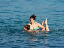 Mother and son in the water Royalty Free Stock Photography