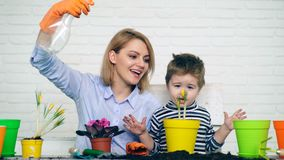Mother and son are watering planted flowers in the summer. Concept of seedlings. Mother and son are watering planted flowers in the summer. Concept of seedlings stock footage