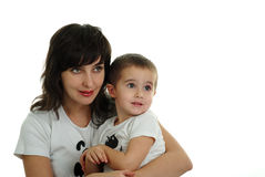 Mother and son on white background Royalty Free Stock Photography