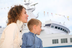 Mother, son and white ship Royalty Free Stock Image